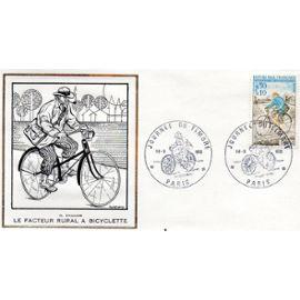 ENVELOPPE DES EDITIONS THIAUDE - LE FACTEUR RURAL A BICYCLETTE - JOURNEE DU TIMBRE PARIS - 75 - 18/03/1972