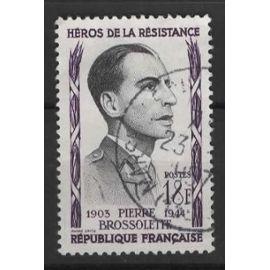 France, timbre-poste oblitéré Y & T n° 1103 P. Brossolette, 1957