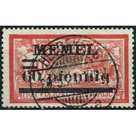"""lituanie, enclave de memel sur administration française 1921, bel exemplaire yvert 34, type merson 40c. rouge et bleu vert surchargé """"memel 60 pfennig"""", oblitéré, TBE"""