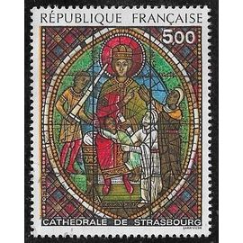Timbre N°2363 Y & T 5,00 F multicolore série artistique vitrail de la cathédrale de strasbourg