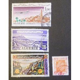 algérie oblitéré y et t n° 15 19 20 (poste aérienne) et 67 (t. taxe) lot de 4 timbres de 1967-72