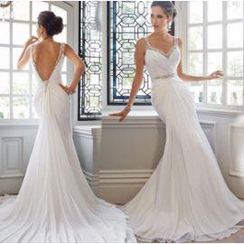Sirène Strass Robes De Mariage élégant Simple Mousseline Traînant Robes De Mariée