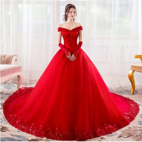 Rouge Tulle Magnifique Robe de mariage Chapelle