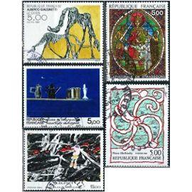 france 1985, belle série artistique complète, yvert 2363 vitrail cathédrale strasbourg, 2364 n. de staël, 2381 dubuffet, 2382 alechinsky et 2383 giacometti, obli. TBE
