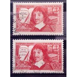 Série Descartes 1937 - N° 341-342 Obl - Cote 3,60€ - France Année 1937 - N9036