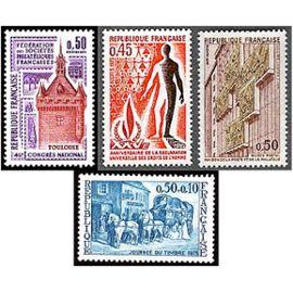 france 1973, très beaux ex. yv. 1749 - journée du timbre : diligence, 1763 congrès philatélique à toulouse, 1781 25ème anniversaire déclaration des droits de l