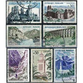 france 1960, belle série touristique complète, yvert 1235 1236 1237 1238 1239 1240 1241, cathédrale de laon, chateau de fougères..., obli. TBE