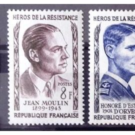 Série Résistants 1957 - N° 1100 Jean Moulin + 1101 D