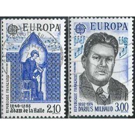 france 1985, belle paire europa année européenne de la musique, yvert 2366 adam de la halle et 2387 darius milhaud, oblitérés, TBE