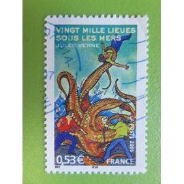"""Timbre France YT 3794 - Jules Verne - """"Vingt mille lieues sous les mers"""" - Combat contre une pieuvre géante - 2005"""