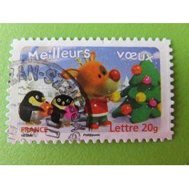 Timbre France YT 3988 (N° 99) - Meilleurs vœux - Renne et manchots décorant un sapin - 2006