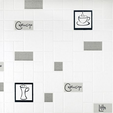 Luxe Vinyle Papier Peint Rasch Cuisine Style CAFE Cocao lait Lettrage Gris