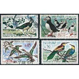 france 1960, belle série complète oiseaux, yvert 1273 vanneaux, 1274 macareux moines, 1275 sarcelles et 1276 guêpiers, oblitérés, TBE
