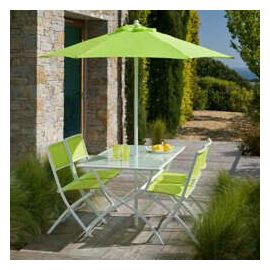 Salon de jardin en acier coloris vert anis FUNDY - OOGARDEN