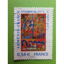 Timbre France YT 4058 - Art - Œuvres religieuses - Nativité - Miniature manuscrit liturgique - 2007