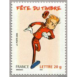france 2006, fête du timbre, très bel exemplaire neuf** luxe yvert 3877, spirou, timbre à validité permanente lettre prioritaire.