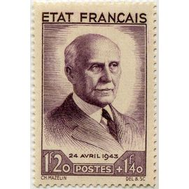 """france 1943, provenant de la bande """"état français"""", bel exemplaire yvert 576, portrait de philippe pétain, neuf*"""