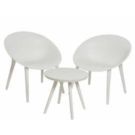 Salon de Jardin Moderne Salon de Thé 2 Places Personnes Contemporain Table  Bistrot et 2 Chaises en PVC Blanc
