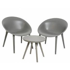 Salon de Jardin Moderne Salon de Thé 2 Places Personnes Contemporain Table  Bistrot et 2 Chaises en PVC Gris