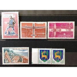 Messager Royal ( 1332) + Vol à Voile ( 1340) + Aviation Légère Tourisme ( 1341) + Le Touquet ( 1355) + Guéret ( 1351B) Neufs** Luxe (= Sans Trace de Charnière) -Cote 3,25€ -France Année 1962 -N10282