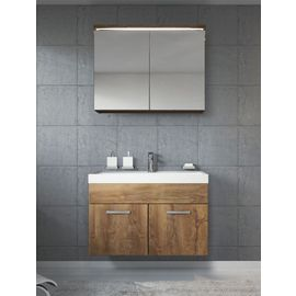 Meuble de salle de bain Paso 02 80x40cm lavabo Lefkas (marron) ¿ Armoire de  rangement mirroir armoire miroir