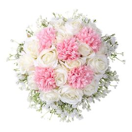 Bouquet Bouquet De Mariage En Cristal Rose Perle De Demoiselle D Honneur De Mariage Bouquet Fleurs De Soie Artificielle Fleur Artificielle 1