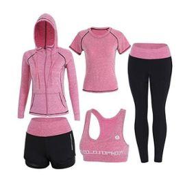 prix compétitif 5e977 6413c Ensemble De Sport De Suduation, Jogging Survêtement, Yoga Fitness Tenue 5  Pièce Ensemble Femme Rose