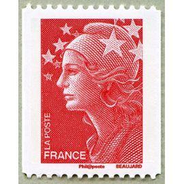 france 2008, très bel exemplaire neuf** luxe yvert 4240, marianne de beaujard rouge, validité permanente lettre prioritaire, pour roulette, pour collection ou affranchissement.
