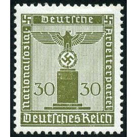 allemagne, 3ème reich 1942, très bel exemplaire timbre de service neuf** luxe yvert 125, grand aigle et croix gammée, 30pf. brun olive, sans filigrane.