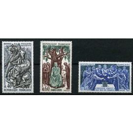 France 1967, très beaux exemplaires neufs** luxe yvert 1537 1538 1539 - Personnages célèbres - Hugues Capet, Philippe Auguste, Saint Louis.