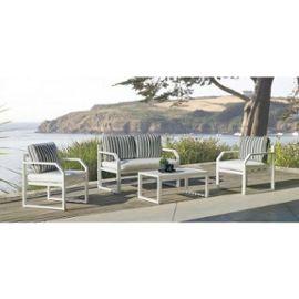 Salon de jardin - aluminium blanc - coussin couleur naomi - Amza INDOOR  OUTDOOR