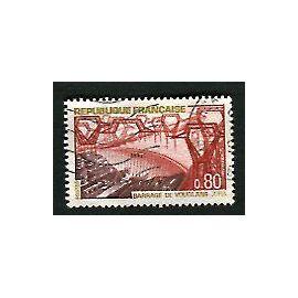 """Timbre Oblitéré - """" Barrage De Vouglans - Jura """" - 0,80F - Combet - 1969"""