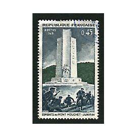 """Timbre Oblitéré - """" Combats Du Mont Mouchet - Juin 1944 """" - 0,45F - Gandon / Durrens - 1969"""