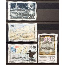 Orgue Cathédrale Poitiers (N° 2890) + Montagne Sainte-Victoire par Cézanne (N° 2891) + Pays de la Saulx (N° 2892) + Débarquement et Bataille Provence Août 44 (N° 2895) Obl - France Année 1994 - N17686