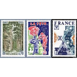 france 1976, très bel exemplaire neuf** luxe yvert 1886 foret de tronçais, 1888 la fête, 1909 foires expositions.