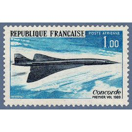 france 1969, très bel exemplaire neuf** luxe de poste aérienne yvert 43, premier vol du concorde.
