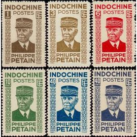 """indochine (actuel vietnam), colonie française 1943, belle série complète neuve** luxe yvert 243 à 248, maréchal pétain, sigle e.f. """"état français""""."""