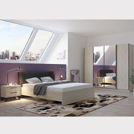 Chambre à coucher complète moderne couleur bois clair ANYA
