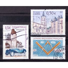 Mulhouse 0,50€ (N° 3576) + Tulle - Corrèze - Cathédrale 0,50€ (N° 3580) + Franc-Maçonnerie 0,50€ (N° 3581) Obl - France Année 2003 - N24831