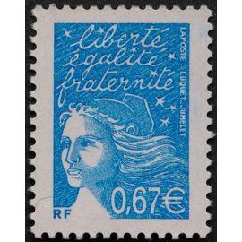 france 2002, très bel exemplaire neuf** luxe yvert 3453, marianne de luquet ou marianne de la révolution, 0.67€ bleu turquoise.
