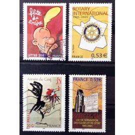 Année Lunaire Chinoise du Coq (N° 3749) + Rotary international (N° 3750) + Titeuf (N° 3751) + Séparation Eglises et Etat (N° 3860) Obl - France Année 2005 - N14460