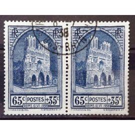Cathédrale de Reims 65c+35c (n° 399) - Rare en Paire - Obl - Cote 25,00€ minimum - France Année 1938 - N23572