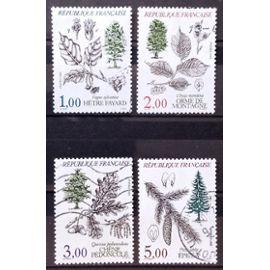 Série Flore et Faune de France 1985 - n° 2384 Hêtre + 2385 Orme + 2386 Chêne + 2387 Epucéa Obl - France Année 1985 - N20375