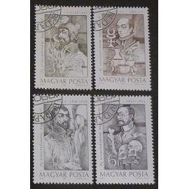 hongrie oblitéré y et t n° 3246 à 3249 lot de 4 timbres de 1989 pionniers de la médecine