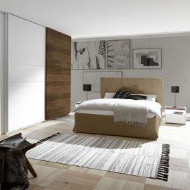 Chambre adulte moderne blanc et couleur noyer foncé DELFINO lit 180 cm