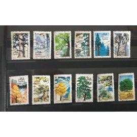 12 timbres obliteres 2018 arbres