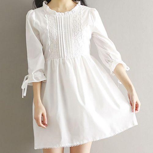 Robe Blanche Belle Fille Douce Japonaise De Style Dentelle Robe D Ete Jupe Blanche Blanc Rakuten