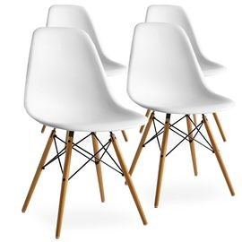 Lot de 4 Chaises Scandinaves Blanches Style Eiffel