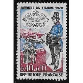 Timbre N°1632 Y&T 0,40 F+0,10 F bleu, carmin et noir journée du timbre facteur de ville en 1830