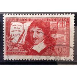 """Descartes 90c rouge-brique """"Discours De"""" (Très Joli n° 342) Obl - France Année 1937 - N10603"""